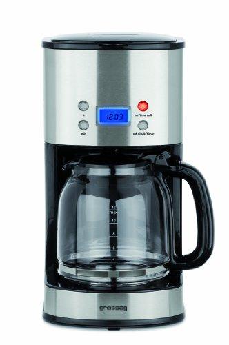 Grossag Filter-Kaffeeautomat mit Glaskanne und Timer-Funktion KA 64 | 1,6 Liter für 12 Tassen Kaffee | 1000 Watt | Schwarz - Edelstahl