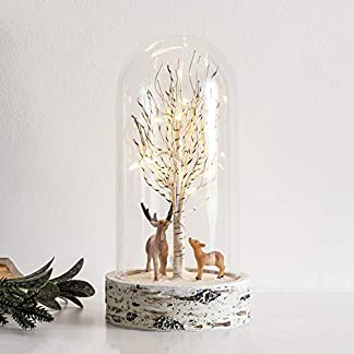 Lights4fun – Campana Decorativa de Cristal con Escena Invernal y LED Blanco Cálido a Pilas