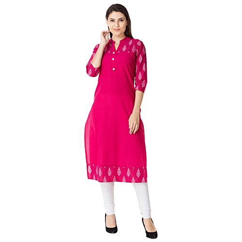 M&D 3/4sleeve cotton casual women kurti Straight Pink Color