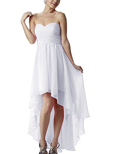 Find Dress Femme Elégant Sexy Robe de Soirée/Cérémonie/Mariage/Cocktail Robe Bustier Asymétrique en Mousseline de Soie Blanc