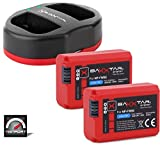 Baxxtar Pro Set - Compatible avec Batterie Sony NP-FW50 (2X) avec Chargeur Double Port 1822 (USB Dual)
