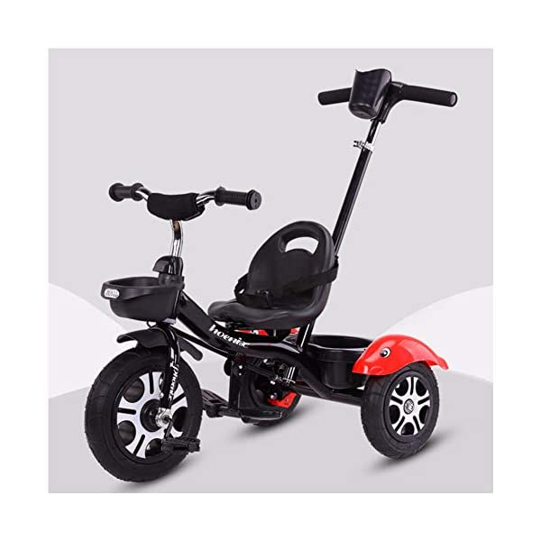 GSDZSY - Children Kids Tricycle Push And Ride Dual Use, With Detachable Push Rod And Rubber Wheel, Safe And Durable, 18 Months - 5 Years Old GSDZSY ❀ Material: High-carbon steel +ABS+ Rubber wheel ,Suitable for 18 Months to 5 years old Child, Maximum Load 30 kg ❀ The Push Rod can be adjusted Height, Pusher can control direction, Suitable for mothers of different heights ❀ Sturdy frame and light weight, the handlebar has a protective sponge cover to protect the child's forehead 1