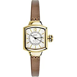 Glam Rock Women's Miami Beach Art Deco 27mm Brown Leather Band Steel Case Quartz White Dial Watch MBD27232