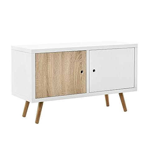 [en.casa]® commode blanc/chêne salon armoire buffet rétro TV Lowboard