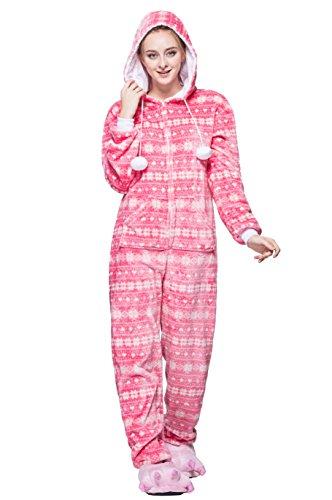 wachsene Weihnachten Halloween Fasching Carnival Rosa Schneeflocke Pajamas Pyjamas Schlafanzug Kostüme Jumpsuit Kleidung M (Halloween-kostüm Ideen Für Männer Beste Freunde)
