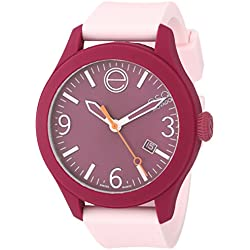 ESQ by Movado Women's 42mm Pink Silicone Band Steel Case Quartz Burgundy Dial Analog Watch 07101440