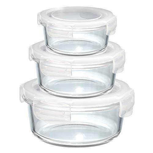 Grizzly contenitore per alimenti in vetro – set da 3 – misure differenti – rotondo adatti per forno - frigo e congelatore – ermetico anti perdite – lavabile in lavastoviglie - senza bpa