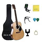 HUA WIND Akustikgitarre Set Anfänger, Akustikgitarre Stahlsaiten Akustik Gitarre Erwachsene, Natural