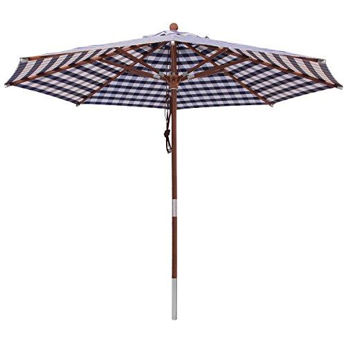 anndora® Sonnenschirm 3 m rund Gartenschirm Marktschirm - mit Winddach kariert Blau Weiß