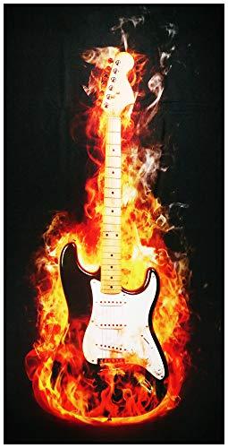 UniqueTowel Handtuch - 50 x 100 cm - Motiv schwarz-weiße E-Gitarre mit Feuer - Feuer E-gitarre