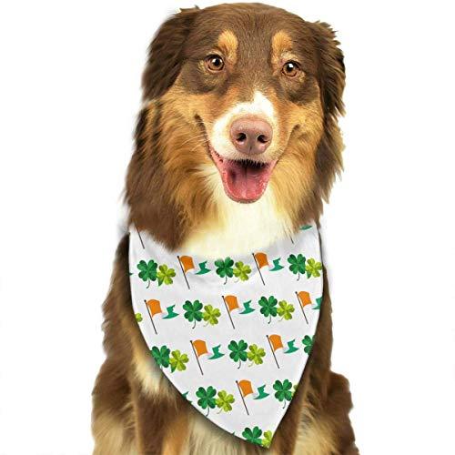 Wfispiy St. Patrick's Day Irish Pattern weiche Baumwolle Klassische Tiere Bandana Haustier Hund Katze Dreieck ()