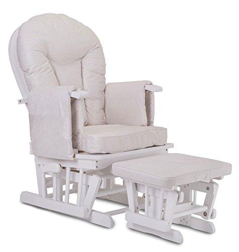 Still- und Schwangerschaftssessel, aus weißem Holz, mit Arretierung und kostenlosem Fußhocker, Cremefarben
