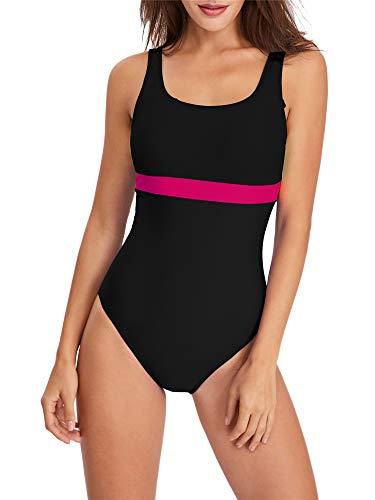 PANAX Pofessioneller Damen Schwimmanzug in Schwarz, Größe M - Sportlicher Badeanzug mit herausnehmbaren und vorgeformten Softcups