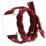 Qianyou Kompatibel mit Apple Watch 1/2/3 Armband Gewebt,38mm Double Tour Woven Leder Erstatzband-Rot