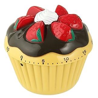 Zenker 41937 – Temporizador 60 min. ABS con forma de cupcake 7x7cm., en color crema, marrón, rojo, verde y blanco