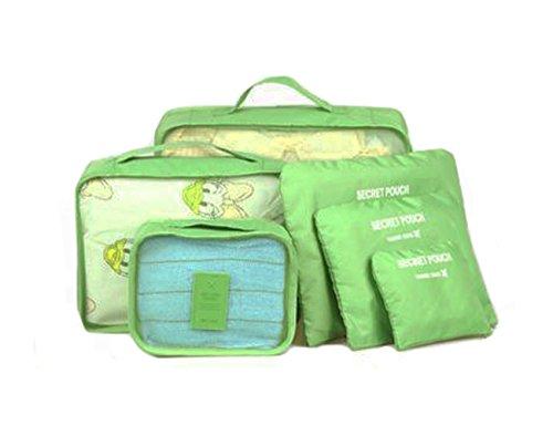 TutuShop 6er-Sets Organizer Tasche | Nylon Reisegepäck Aufbewahrungstasche | Wasserdicht Kleidertasche Koffertaschen für Reise - Marineblau Grün