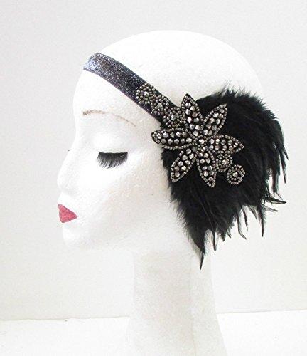 Noir Anthracite/argenté plume bandeau Flapper ANNÉES Gatsby Bandeau 30 * * * * * * * * exclusivement vendu par – Beauté * * * * * * * *