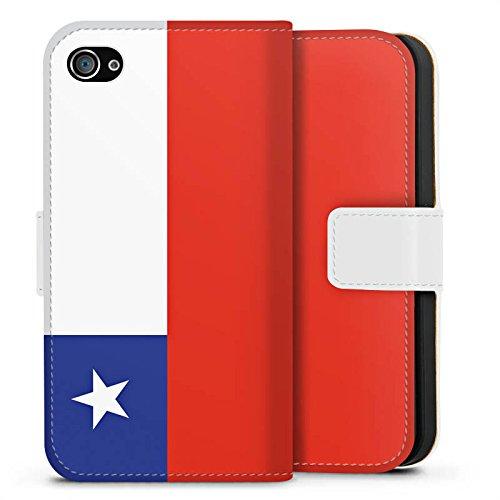 Apple iPhone X Silikon Hülle Case Schutzhülle Chile Flagge Fußball Sideflip Tasche weiß