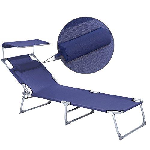 SONGMICS Sonnenliege mit Sonnendach extra groß, verstellbar, Liegestuhl klappbar mit Kopfkissen ,max. Belastbarkeit: 250 kg Grau 210 x 72 x 34 cm (Blau) - 5