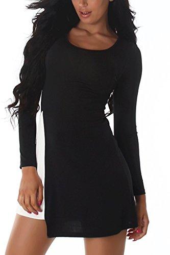 Kostüm Salsa Beschreibung (Damen Kleid Cocktailkleid Latino Langarm Tanzkleid Sommerkleid Zweifarbig Neu Größe Black 34 bis)