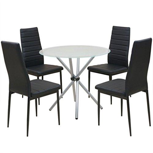 Festnight 5-tlg. Essgruppe Tisch Set Esstisch mit 4 Stühlen Esszimmertisch Küchenstuhl Schwarz