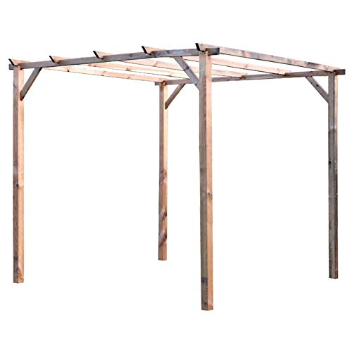 Verdelook gazebo a pergola in legno senza copertura, 3x3 m per arredo esterni e giardino