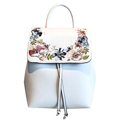 Burton Mädchen Mini (Damen Rucksack, HUIHUI Leisure Sticken Rose Mini Backpack Wasserdicht Reiserucksack Outdoor Wanderrucksacke Jugendliche mädchen Rucksack Schultasche (Weiß))