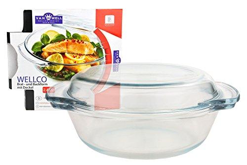 feuerfestes glas zum kochen Brat- und Backform mit Deckel, Glas, rund 2,4 Liter, Ø ca. 27 cm, Auflaufform, Kochgeschirr, Kochschüssel