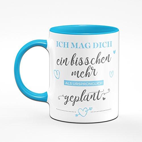 Kaffetasse Ich Mag Dich Ein Bisschen Mehr als ursprünglich geplant - Tasse in Blau Liebesgeschenke Geschenk für Verliebte - Tasse Lieblingsmensch - 2
