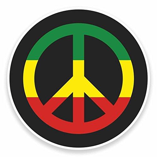 Preisvergleich Produktbild 2x Rasta Peace Symbol Jamaika Vinyl Aufkleber Aufkleber Laptop Auto Reise Gepäck Label Tag # 9481 - 10cm/100mm Wide