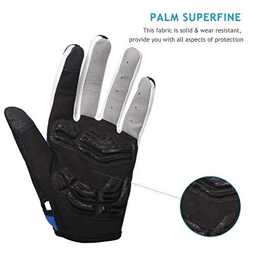 Inbike Herren Fahrradhandschuhe Mit Gel vollfinger MTB Handschuhe für das Radfahren(Blau-Lang,L) - 9