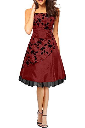 BlackButterfly 'SIA' Vestido De Gala De Satén Essence (Rojo Oscuro, ES 36 - XS)