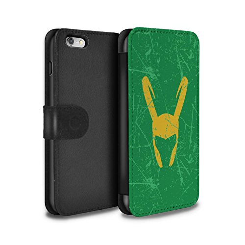 Stuff4® PU-Leder Hülle/Case/Tasche/Cover für Apple iPhone 6 / Loki Helm Inspiriert Muster/Antiheld Comic-Kunst Kollektion (Fälle 4 Marvel-comic-iphone)