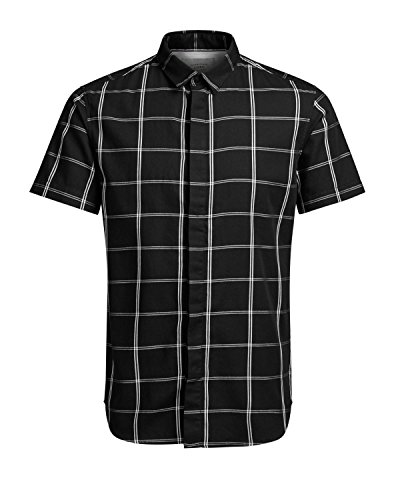Button-up-shirt (Jack & Jones Herren Freizeit-Hemd Gr. Medium, schwarz)