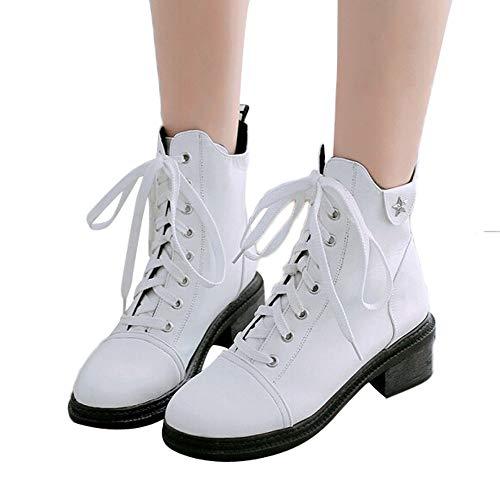 MYMYG Damen Winter Herbst warme Stiefel Lace Up Schuhe Lederschuhe Walkingschuhe Stylische Schnalle Baumwolle Winterschuhe Schuhe...