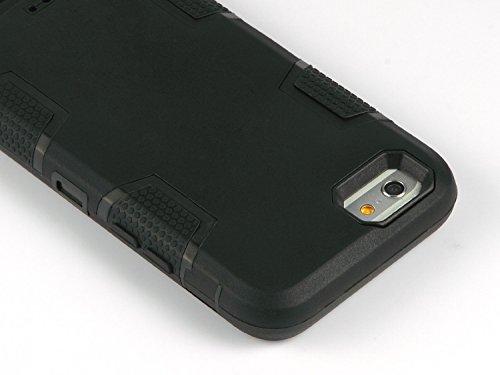 iPhone 6 Hülle, ULAK iPhone 6s Hülle 3in1 Stoßfest Hybrid High Impact Hart PC und Weiche Silikon Schutzhülle Tasche Case Cover für Apple iPhone 6/6s 4.7 Zoll (Schwarz+Blau) Schwarz