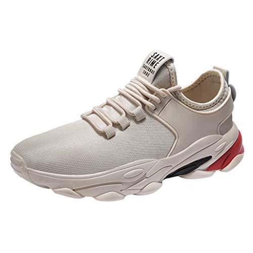 Sneakers Leggero e Traspirante Mesh Running Outdoor Sport Shoes Casual Fashion Sneakers Running Shoes Uomo (41 EU,Beige)