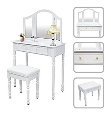 Dressing table white - make-up table with mirror and stool. - cheap UK light store.