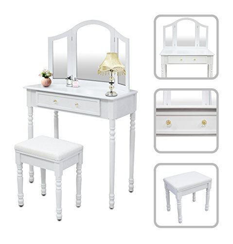 Peluquera-Mesa-de-maquillaje-con-espejo-y-taburete-Color-blanco-tocador-peinador-blanco
