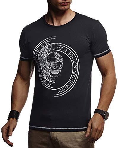 ommer T-Shirt Rundhals-Ausschnitt Slim Fit Baumwolle-Anteil | Basic Männer Totenkopf T-Shirt Crew Neck Hoodie-Sweatshirt Kurzarm lang | LN4395 Schwarz-1 Small ()