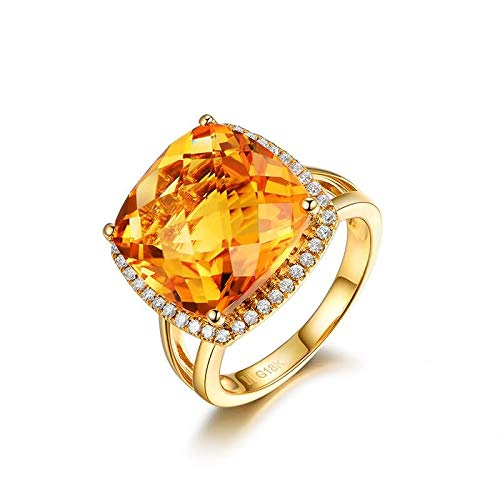 AnazoZ FINERING 18k Gold Damen-Ring Echt Citrin 10.56 Karat Diamant Trauringe Eheringe Hochzeit Verlobung für Frauen Ringgr. 55 (17.5) Ringschmuck