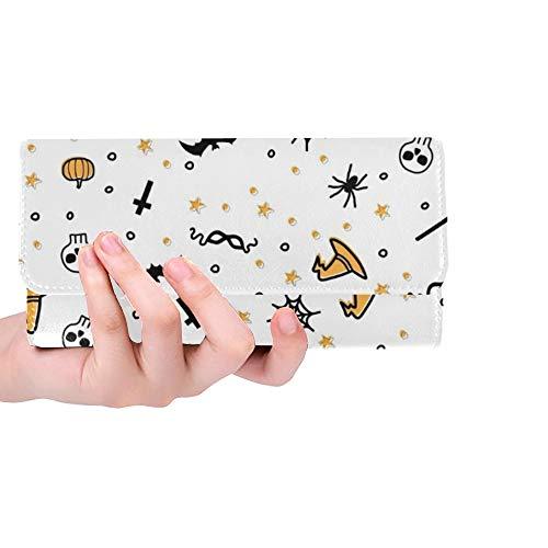 Einzigartige benutzerdefinierte Farbe Halloween Frauen Trifold Wallet Lange Geldbörse Kreditkarteninhaber Fall Handtasche