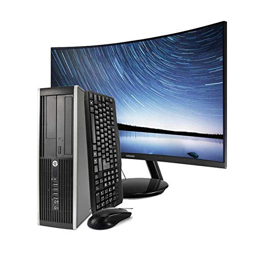 HP Elite 8200 Sff - Ordenador de sobremesa + Pantalla Curva 24in (Intel Core I5-2400 Quad Core, 4GB RAM,HDD de 250 GB, DVD, COA Windows 10 Home Original) Negro (Reacondicionado)