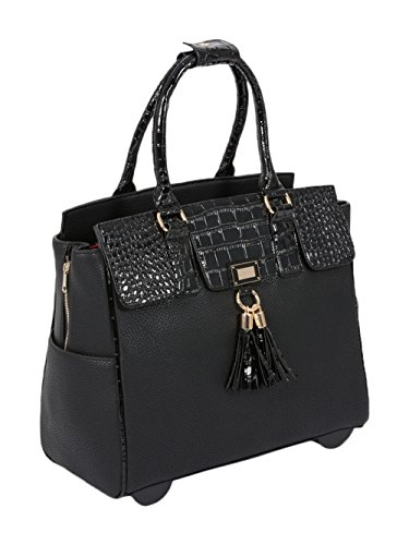 Preisvergleich Produktbild DER LEXINGTON Damen-Trolley / -Handtasche Brieftasche mit Rollen für iPad, Tablet oder Laptop, Alligator-Optik, Schwarz Laptoptrolley