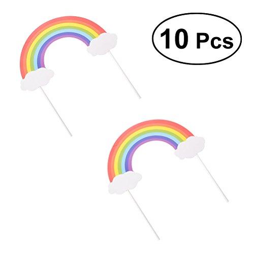 TOYMYTOY Kuchen Topper Sticks, Kuchen Picks Heißluftballon Wolken Regenbogen Lutscher Design für Geburtstagstorte Dekor 10 Stücke