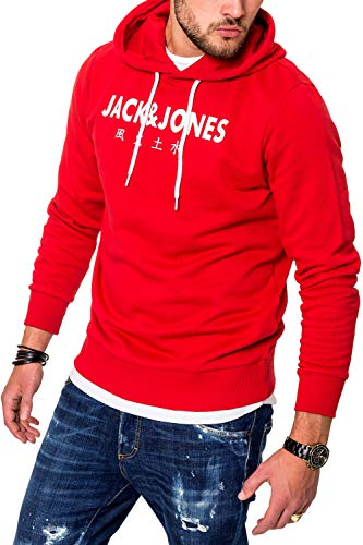 JACK & JONES Herren Hoodie Kapuzenpullover Sweatshirt Pullover Streetwear 4 Elements (Medium, Tango Red)