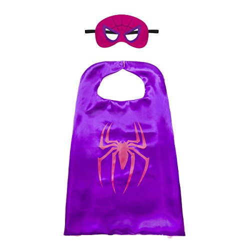 Kiddo Care 1 Satz von Superheld Cape, Mask, Satin (Spider - Spider Mann Girl Kostüm