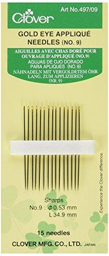Nummer 9 Applique (Clover 497/09 Nähnadeln lang zum Applizieren Nummer 9, 15 Stück, 53 x 34,9 mm)