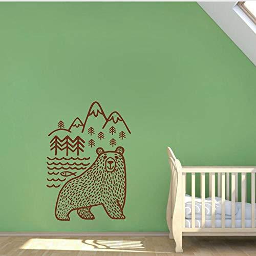 Motivational Wall Decal Woodland Mountains Mama Bear Wild Animal Bear Vinyl Wall Stickers Baby Nursery Home Decor 56x39cm a