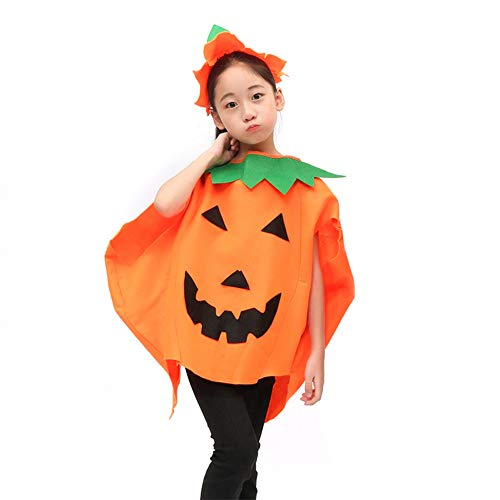 Chytaii Cape mit Kapuze Halloween für Kinder/Erwachsene, Kostümzubehör Mantel mit Kürbis-Form, - Kostüm N Mehr